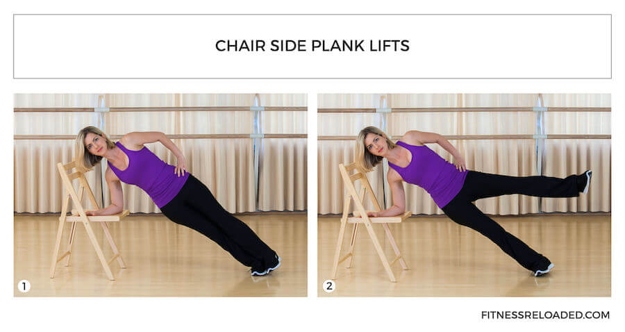 plank variations - chair side plank lifts