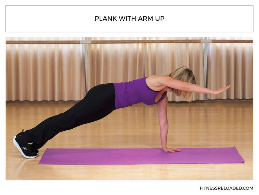 types of planks - plank with arm up