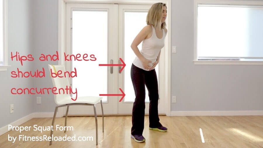 Bend knees and hips concurrently proper squat form