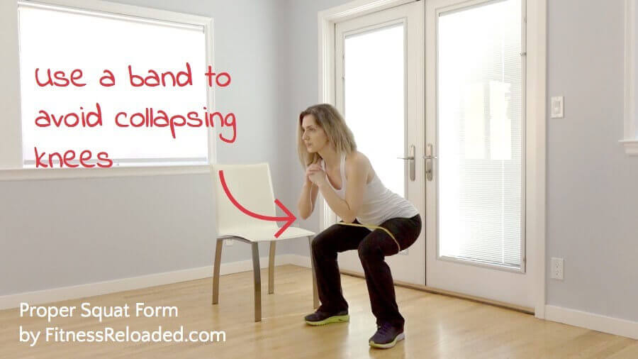 how to squat properly avoid collapsing knees on squats