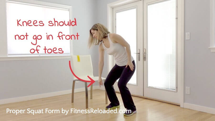 proper squat form knees in front of your toes